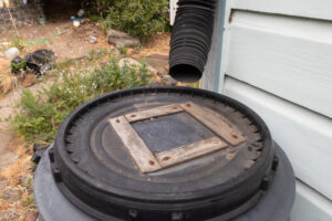 Top of a DIY Rain Barrel